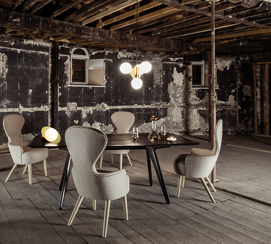Plane-Short-Chandelier-and-Table-Light-with-Wingback-Dining-Chair